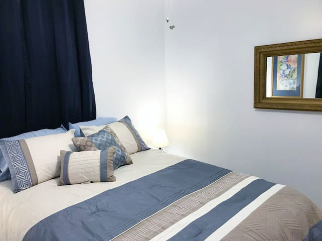 The Blue Room includes an antique mirror for your convenience as you prepare for your day!
