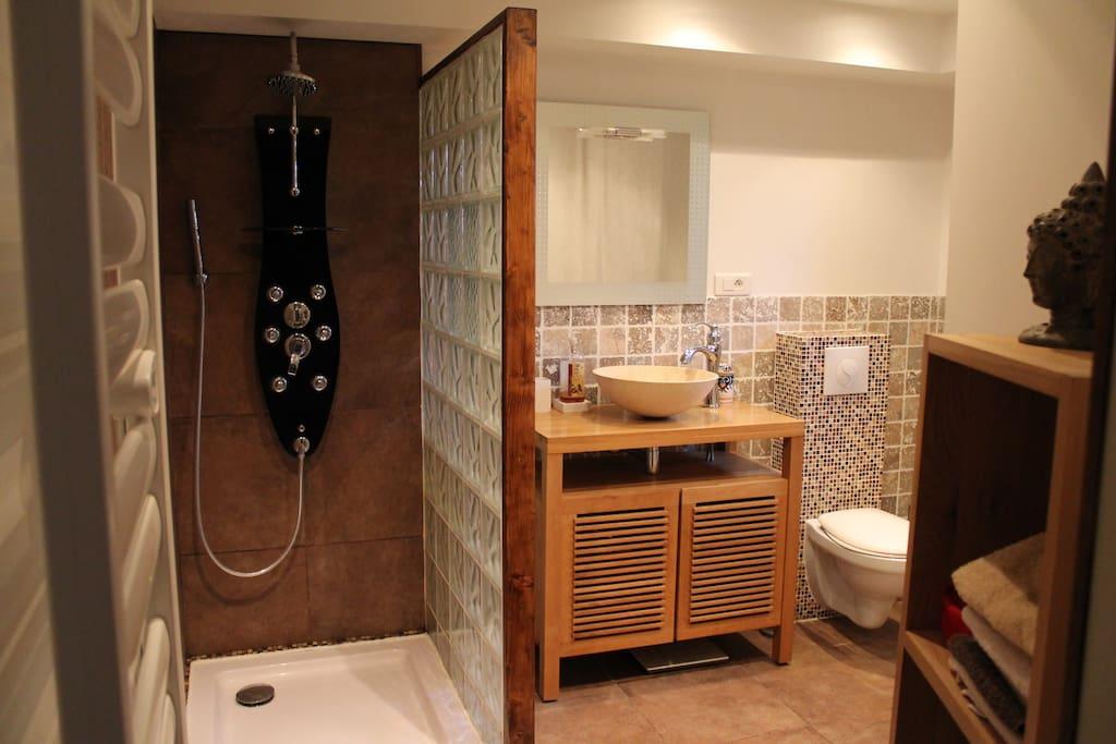 Une salle de bains moderne avec douche à l'italienne