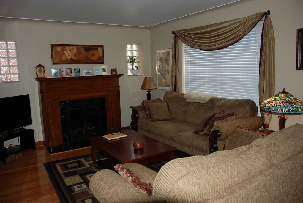 Front room with gas fireplace.