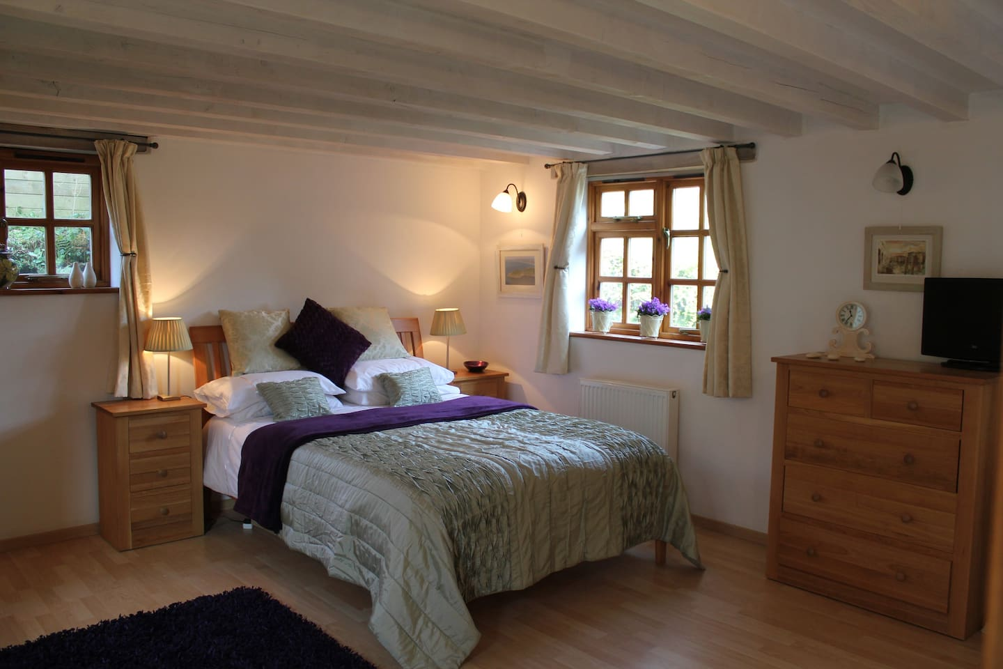 Large downstairs bedroom with King sized bed.  Freeview TV and plenty of storage for clothes.