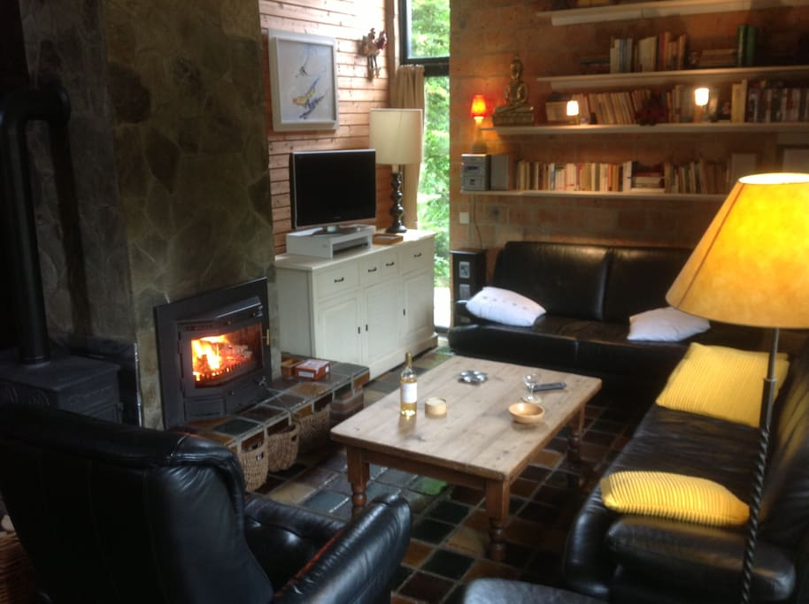 woonkamer met openhaard-cassette(living-room with open fire) ,  feu ouvert avec cassette