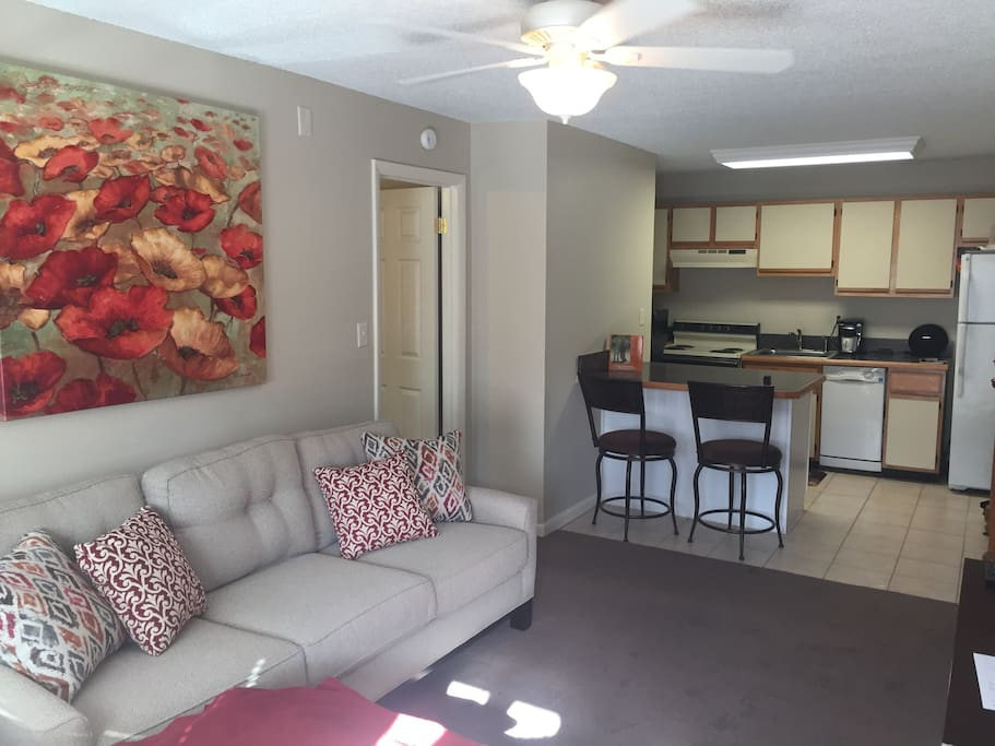 Comfortable, well lit living room with counter space for eating or working.