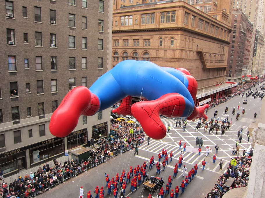 Yes, that's spiderman during the mace's thanksgiving day parade.  carnegie hall in the background...