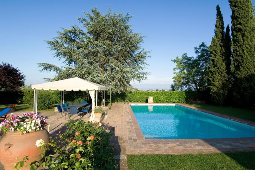 the panoramic  pool and garden with the rose corner and the gazebo