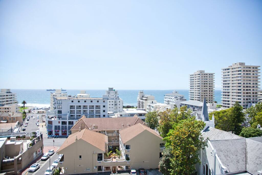 View of Sea Point, Promenade and ocean from balcony