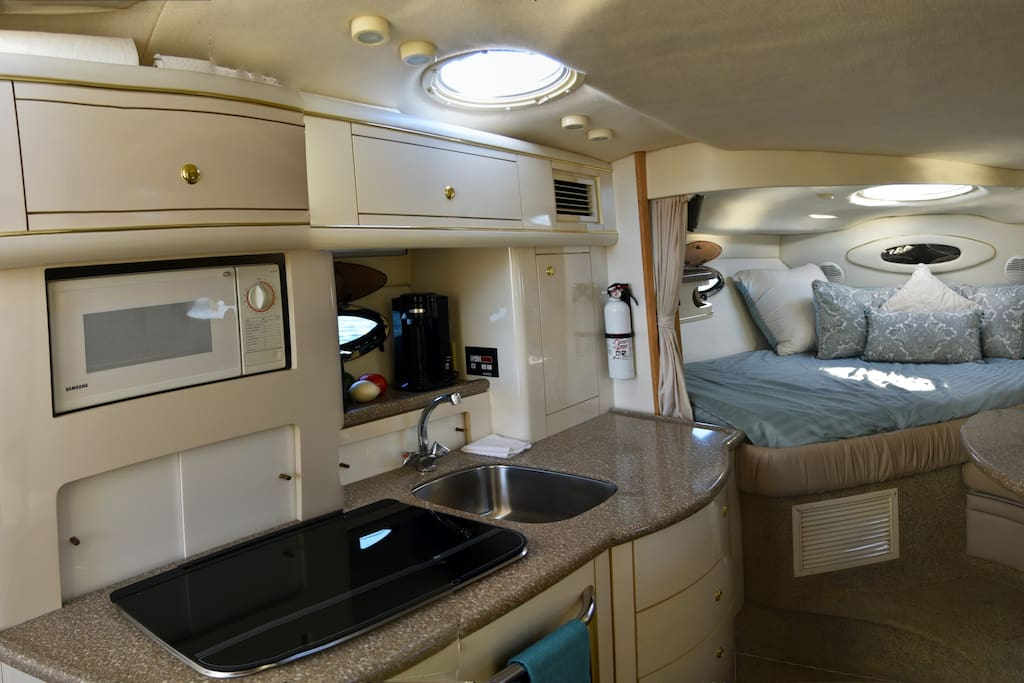 Main cabin; forward berth, kitchen