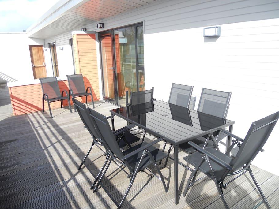 two outdoor patios