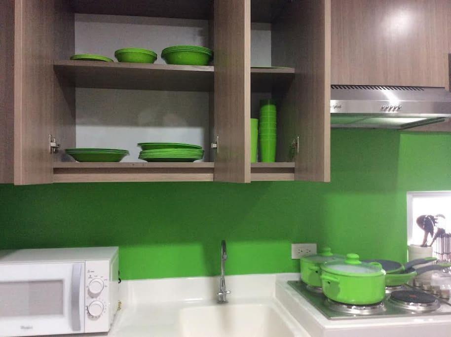 Includes Pots, Pans, Cooling Utensils, Knives, Forks, Spoons