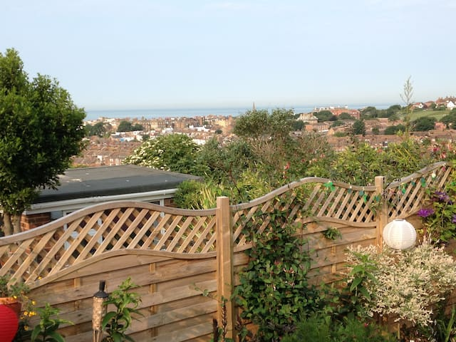 The views of Kemptown and the sea from the terraced deck garden.