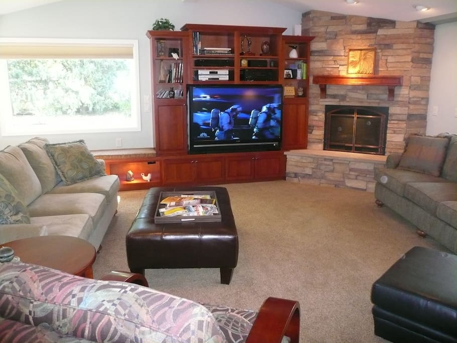 Large great room with fireplace, patio, and lots of natural light