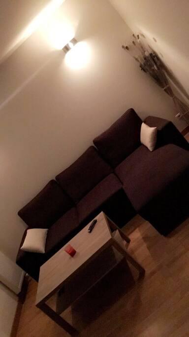 Un salon avec canapé-lit, Tv...