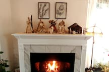 Cozy gas fireplace in the living room.