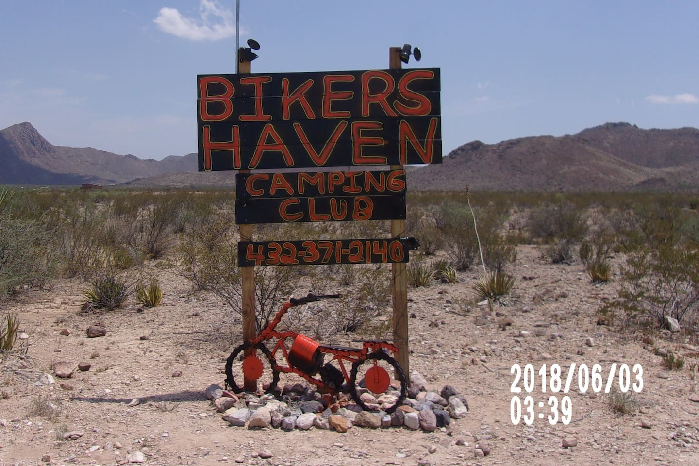 BIKER'S HAVEN CAMPING CLUB SIGN