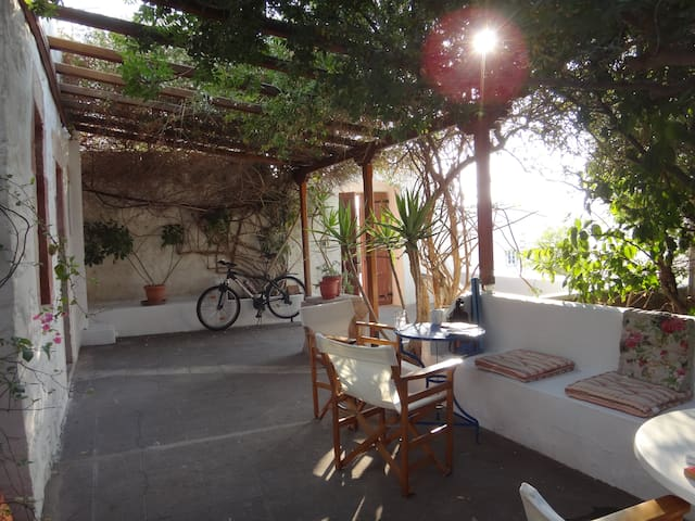 Peaceful garden oasis in traditional house, Patmos