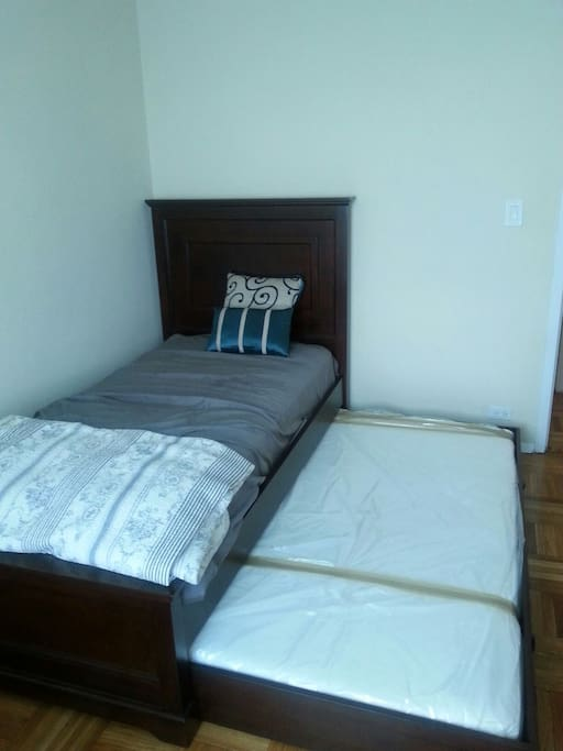 Twin bed with brand new pull out trundle bed.