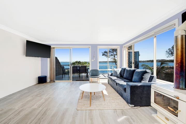 Main living area with water views