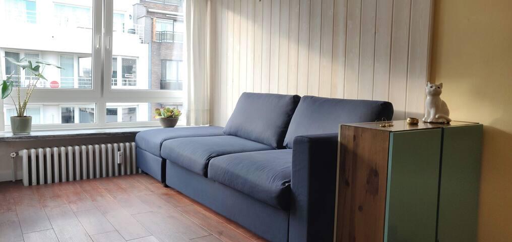 De woonkamer heeft een slaapbank voor 2 personen (bed van 140x200). Je leest in het welkom boekje hoe je de zetel tot slaapbank kan omtoveren.