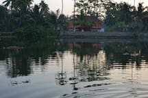 View from the river bank. Temple on the other side