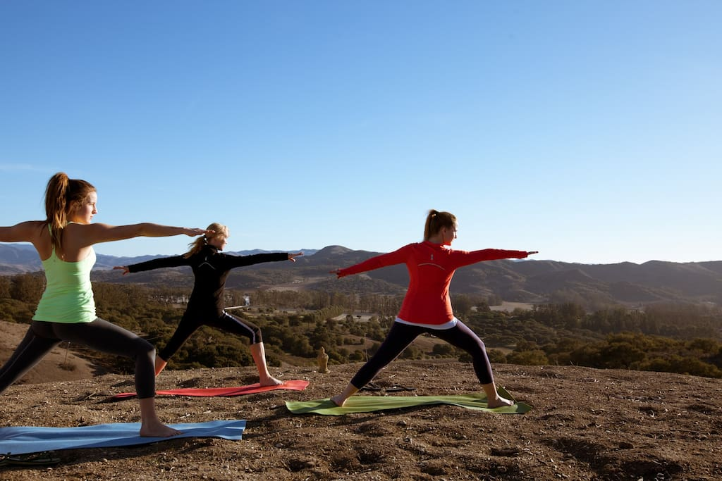 Hilltop yoga on the Ranch.