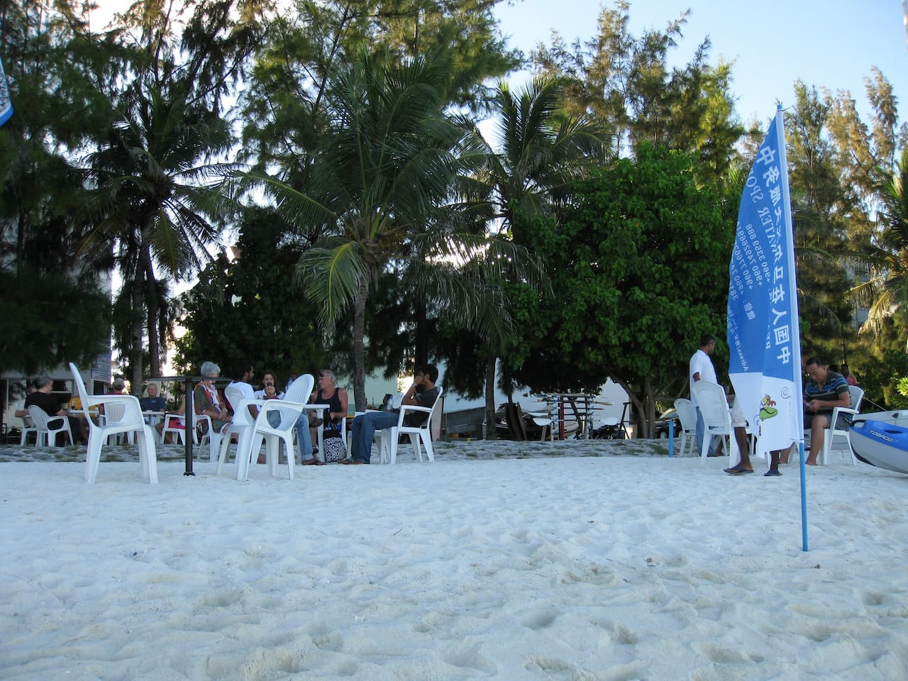 free beach / water sports / cafe'