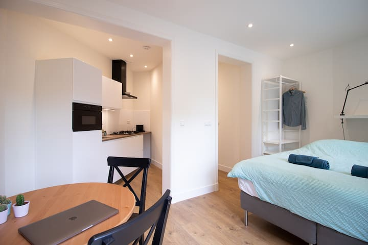 Modern studio in central The Hague with terrace