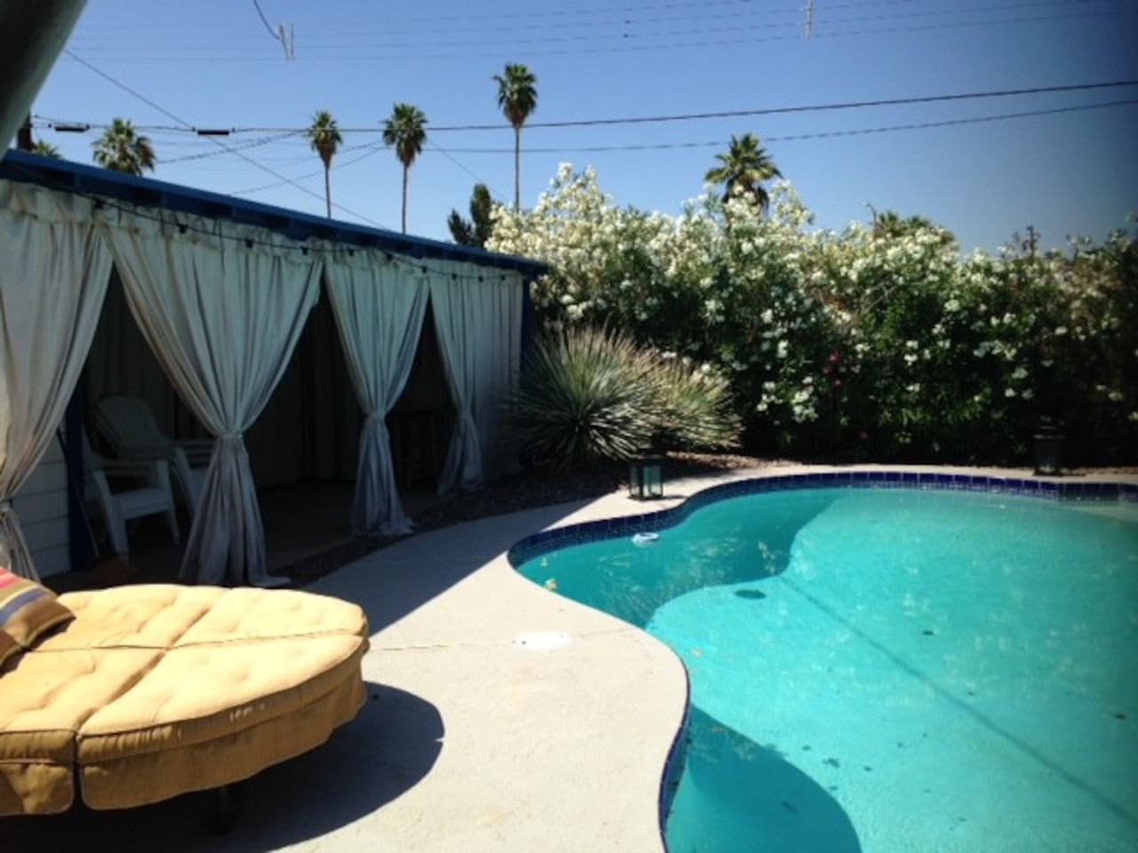 You backyard oasis with a daybed to lay out on for some great relaxation
