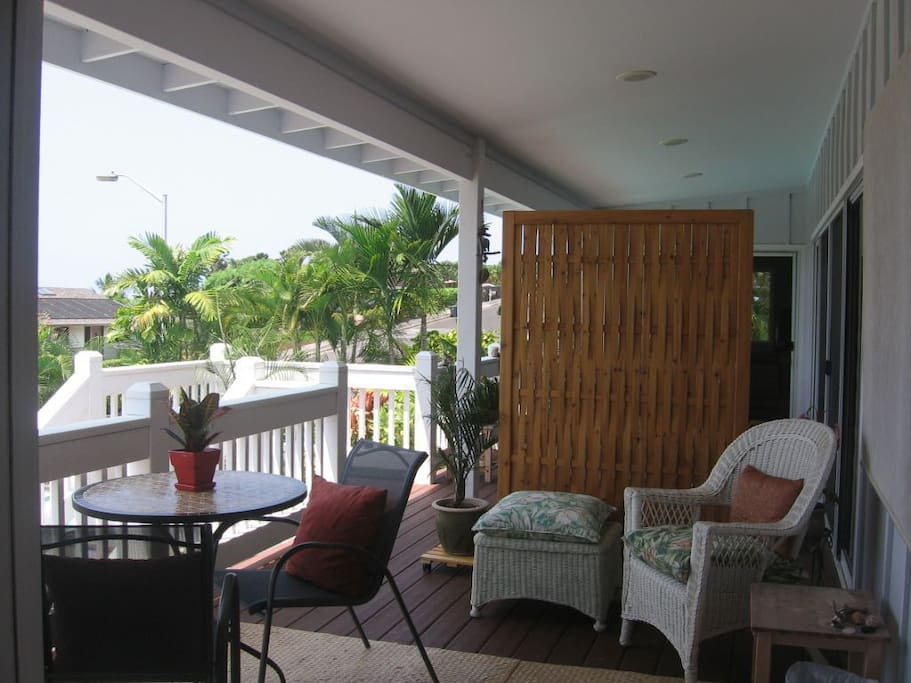 The lanai, a great place for breakfasts and watching sunsets.