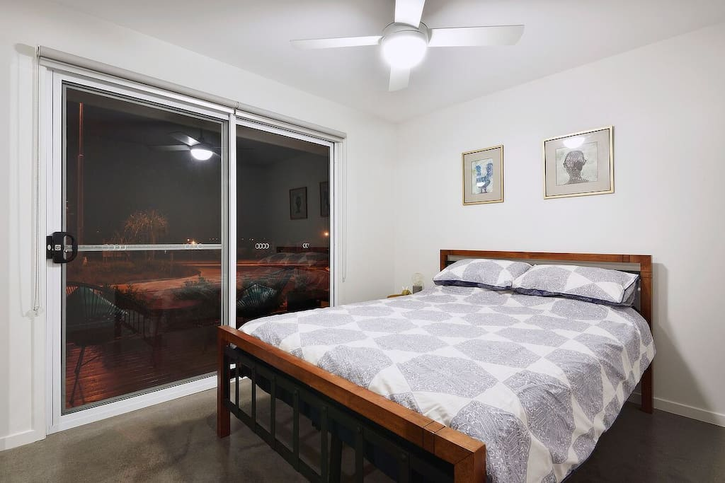 Room 1 - Built in cupboards with hanging shelves for guest use. Ceiling fan. *Both rooms can be booked separately or together