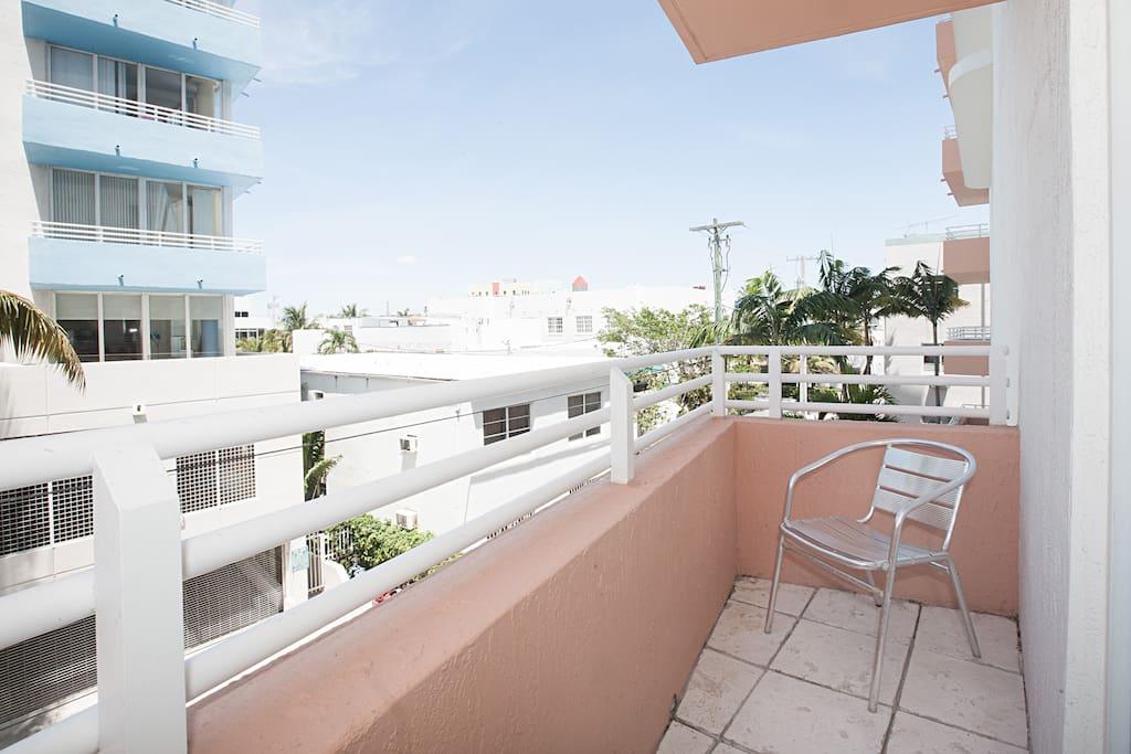 Balcony that over looks pool