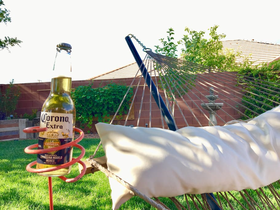 Relax in the hammock with the drink of your choice