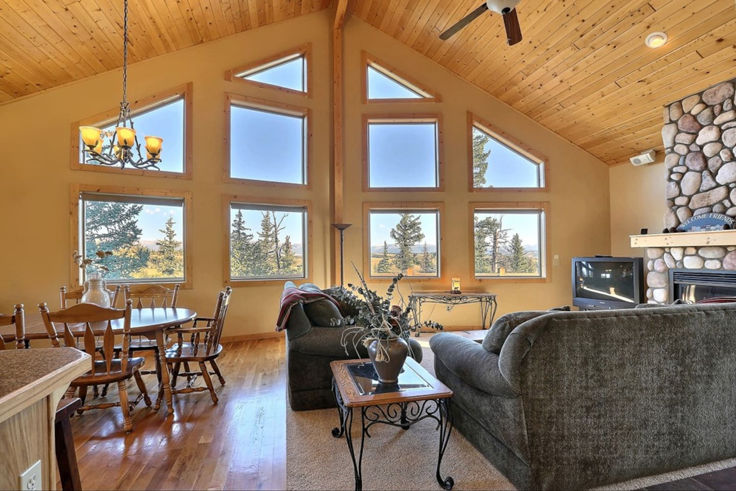 20 foot wall of windows look out to Continental Divide views.  You won't believe it!