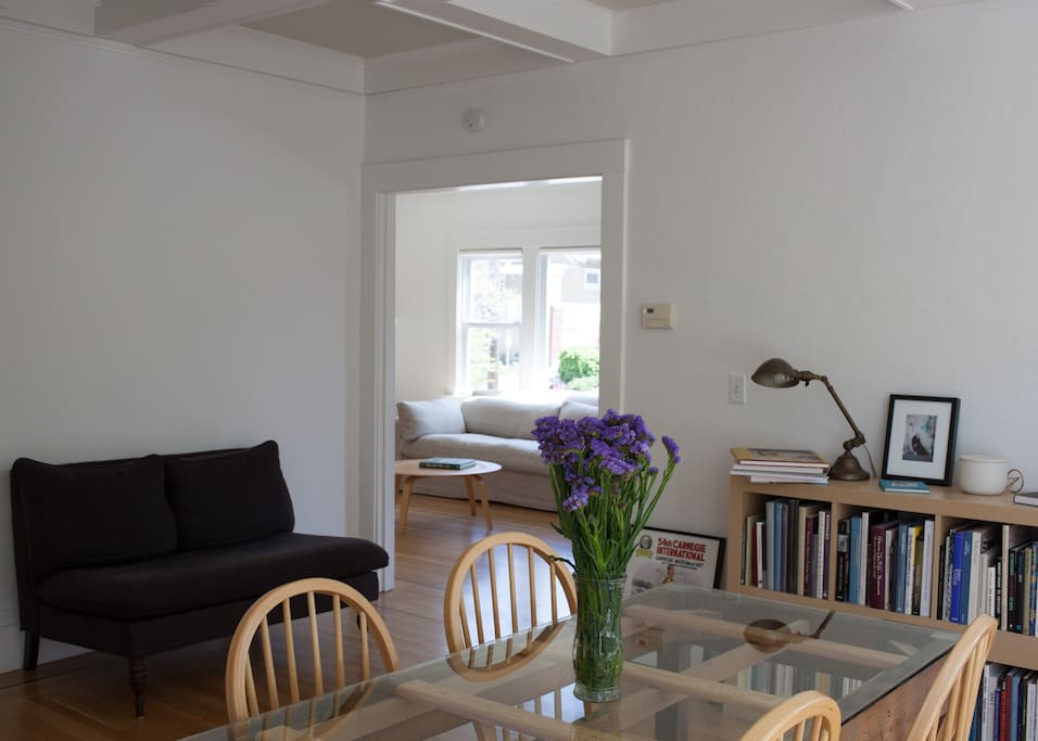 Dining Room with loveseat and loads of art books