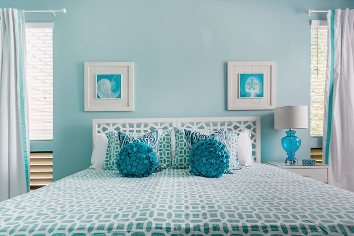 The twin beds can be configured as a King bed upon request.