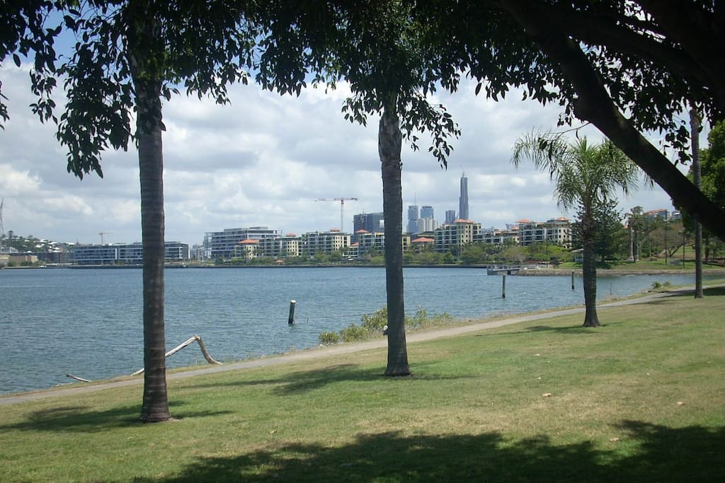 Our daily view - Cameron Rocks Park and the Brisbane River.