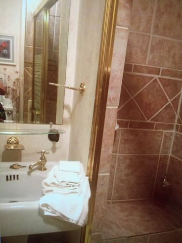 This bathroom has a 100 year old pedestal sink. A 50 year old toilet and a relatively new double sized tiled shower with a seat built in.