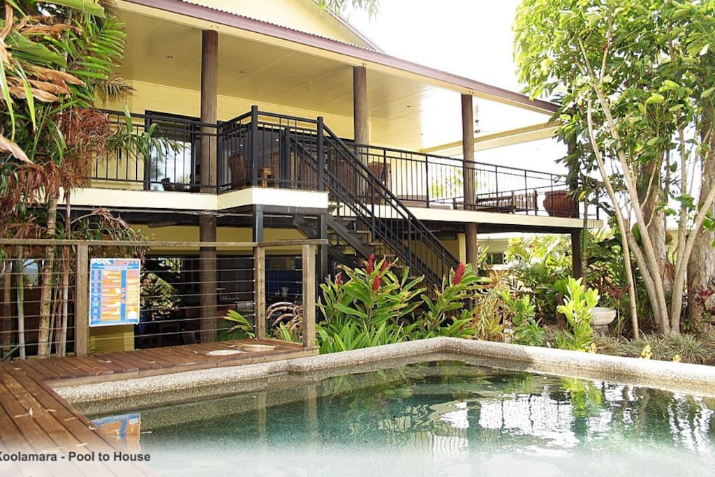 Pool and deck are cool and overlooking the beach.  Two storey can be independently self contained