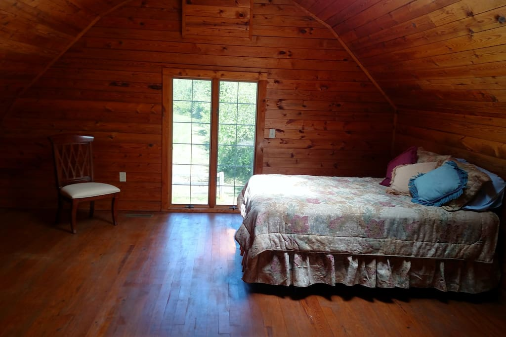 Barn bedroom with Queen-sized bed.