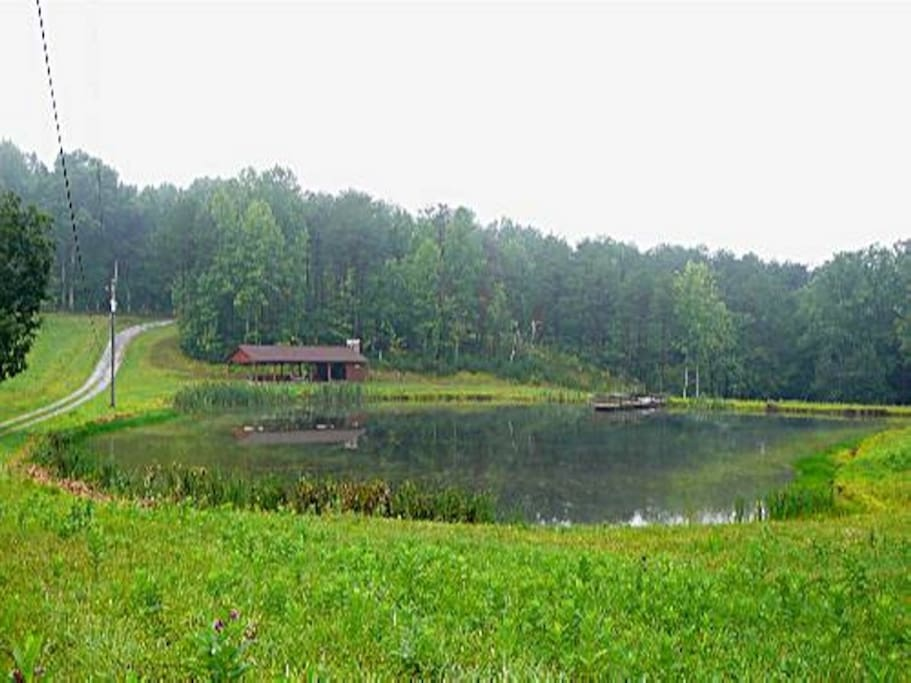 Fishing pond w/ pavillion, view 2