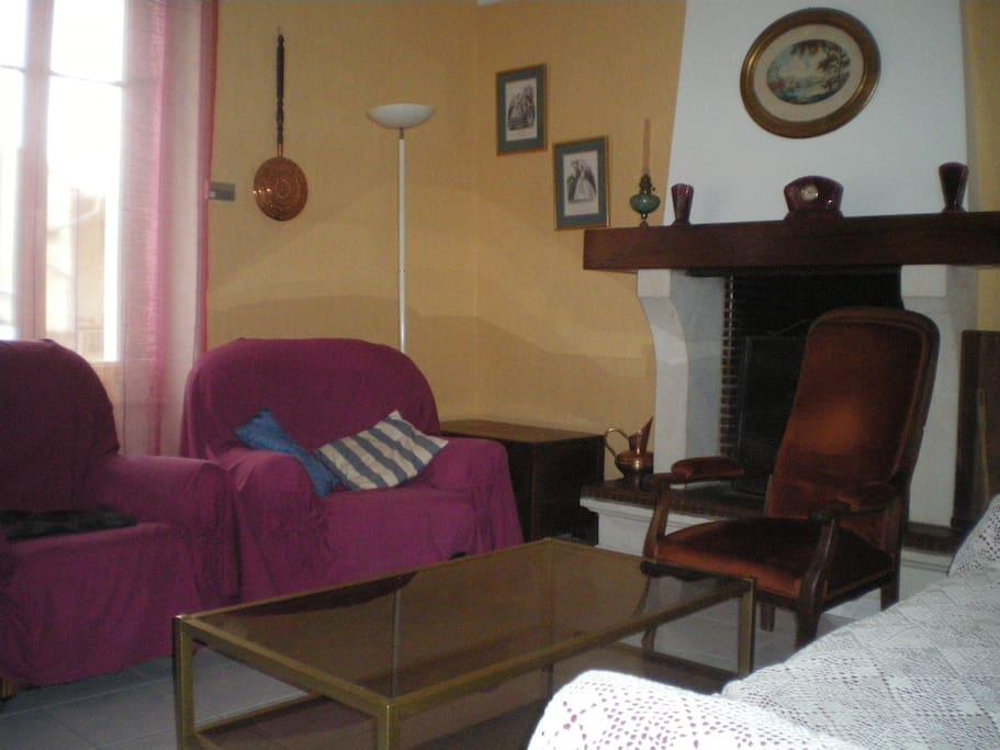 Le salon et la cheminée