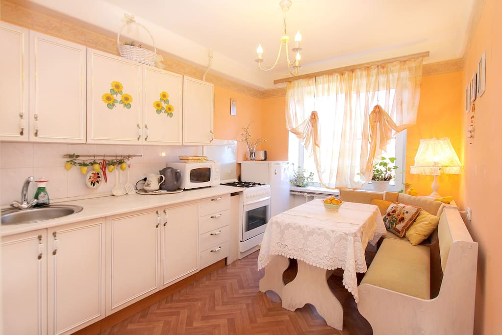 We are sure that the kitchen is the most important place in the house - it should all be comfortable and cozy. Our kitchen is decorated in warm, sunny colors, you'll feel good there in any weather.