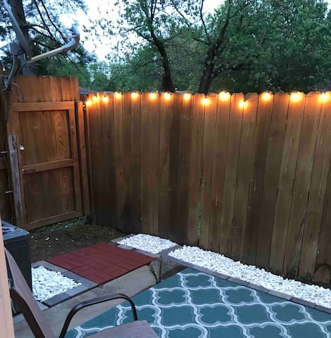 Patio space at night! Plug in outlet for outdoor light show.