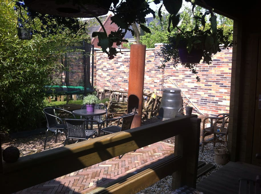 The patio nice and private..