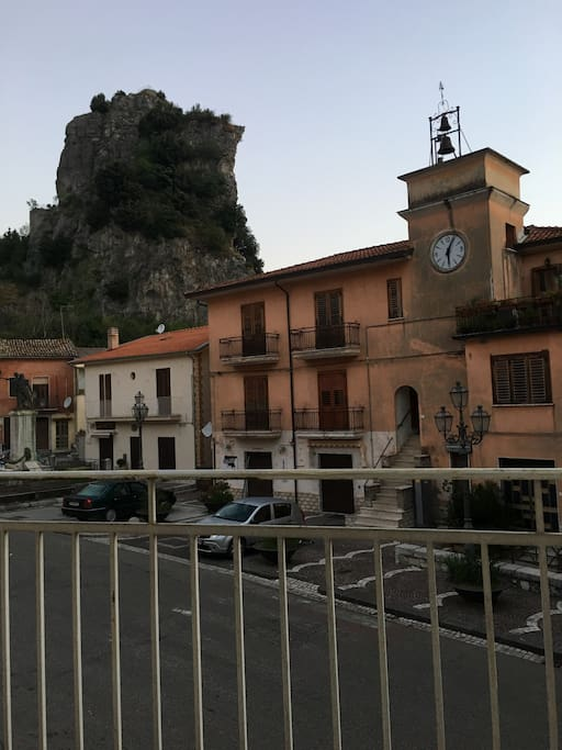 The view of the town square from the balcony of the master bedroom. A true Italian Village scene. The famous Castello of the Village known throughout Italy hulks in the background.