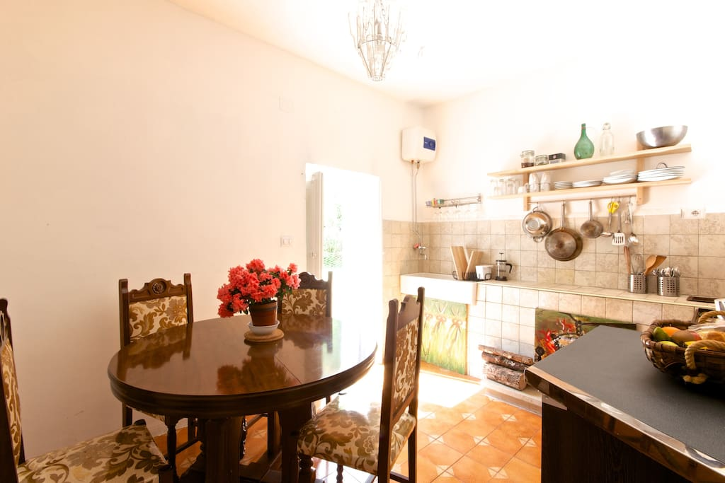 A lovely kitchen with all new pots, pans...perfect for a BBQ and pasta
