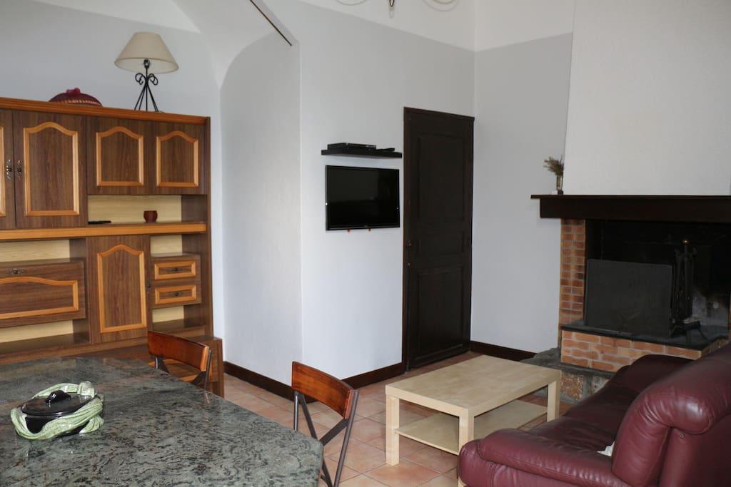 Confort du séjour avec cheminée et TV
