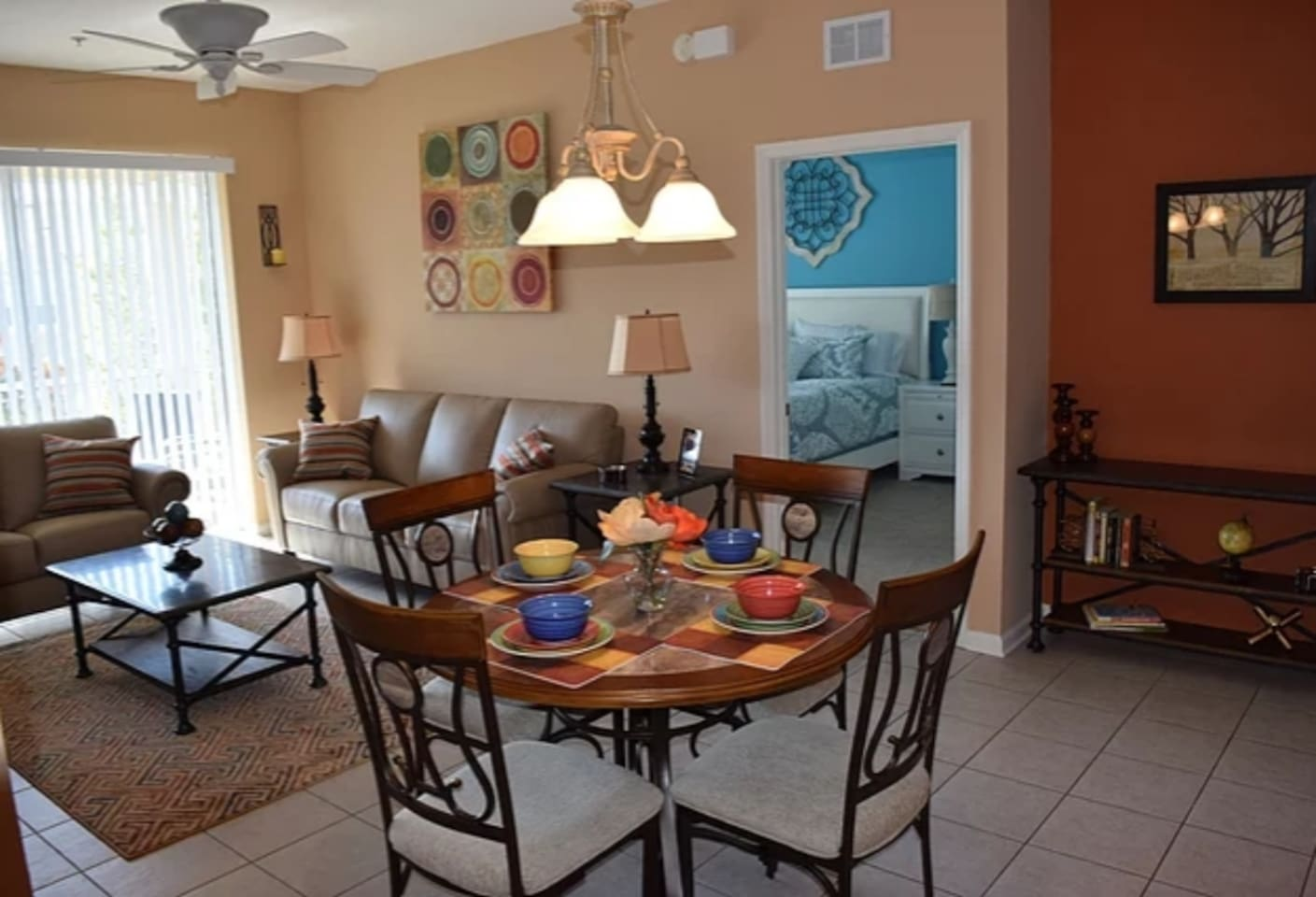 """Living Room with 50"""" Smart TV & Dining Room for 4.                                                                                                                   Reviews can be seen at windsorhills2brcondo.com or  VRBO 844292"""