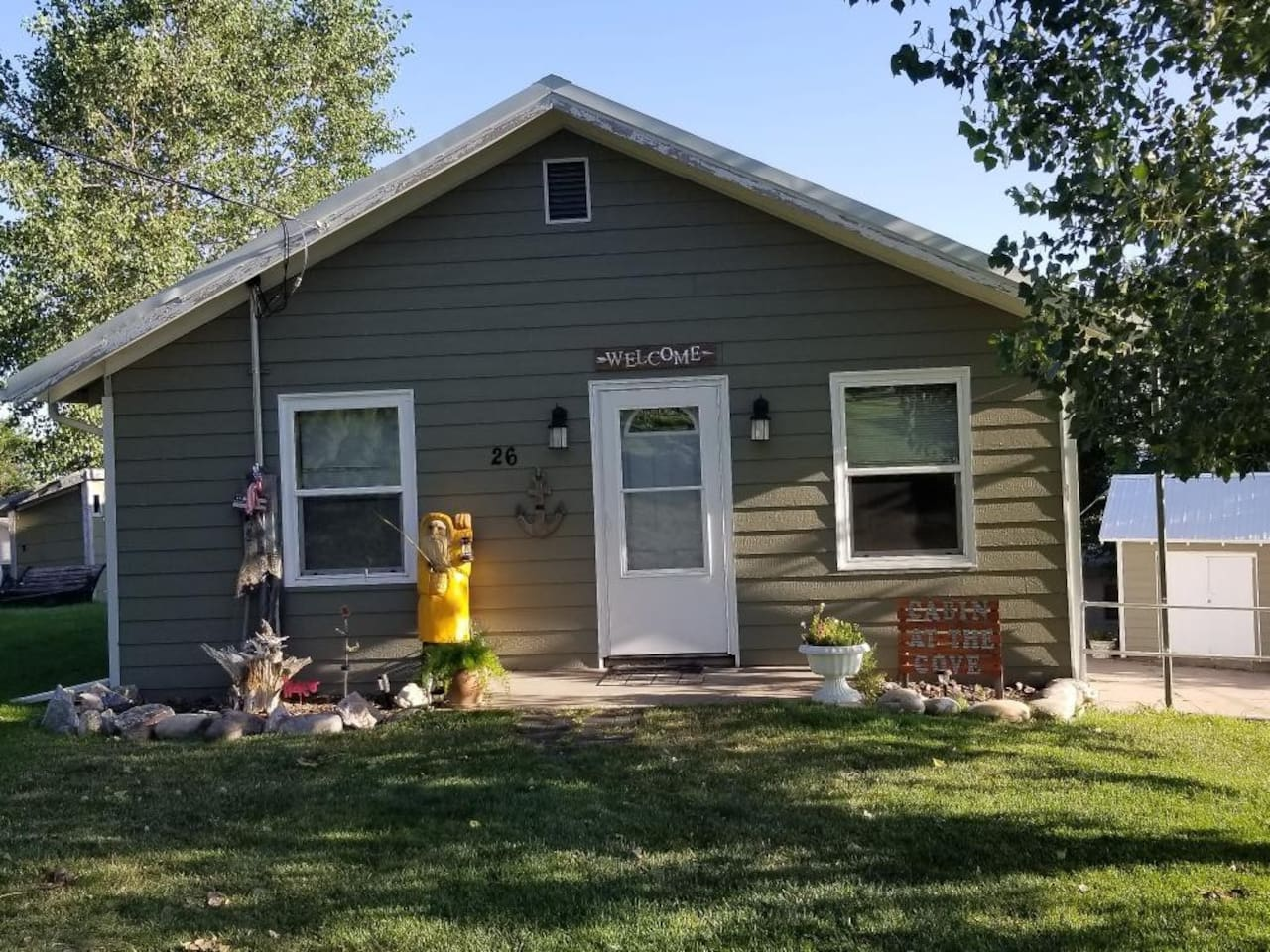 Welcome to Cabin on the Cove at Lake McConaughy, Nebraska.  Cabin sleeps 8 with 2 bedrooms and two sofa sleepers. Walking distance to Lake Mac.