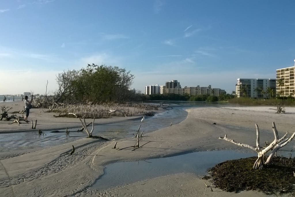 The beach at Fort Myers Beach is very dynamic and changes each day.  This is a lagoon outlet one mile south of our home.