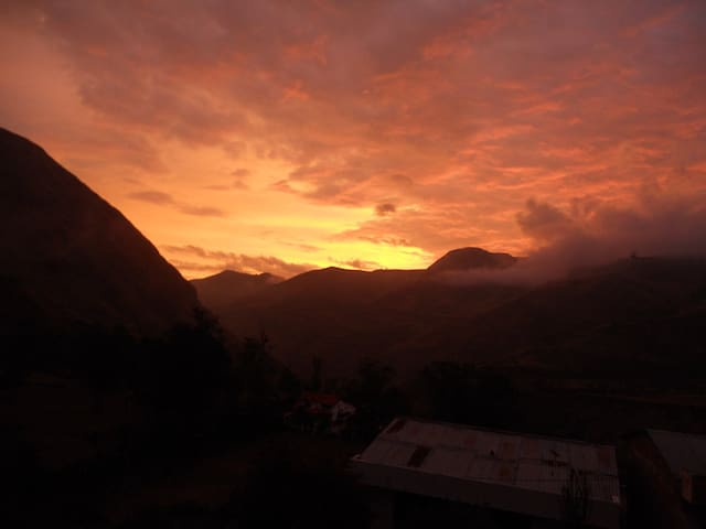 The sunset over the Andes with my house in the middle