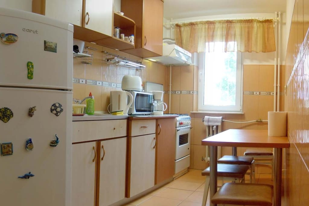 Fully equipped kitchen, fridge, microwave, toaster.